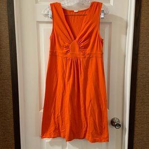 J. Crew Orange Empire Waist V Neck Dress Size S